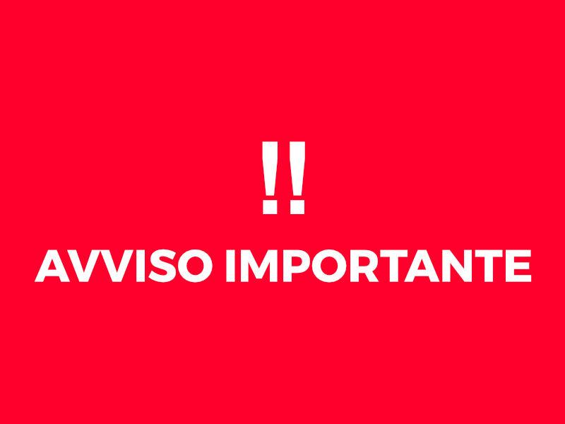 AVVISO IMPORTANTE COVID19