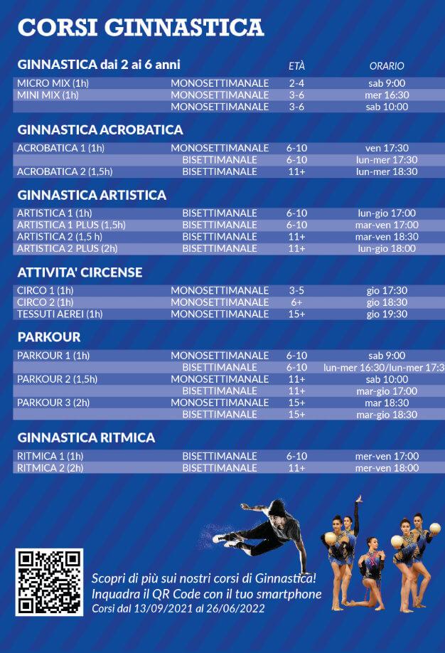 Orari corsi di ginnastica di OFFICINA5 palestra di Moimacco vicino a Cividale